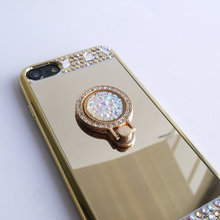For Samsung J5 Case J500 Mirror Panel Bling Colorful Diamond Glitter Finger Ring Lady Cover Hand Drop Proof Hot Sale