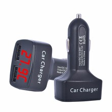 New Arrival 4 In 1 Dual USB DC 5V 3.1A usb Car Charger universal Adapter With Voltage temperature Digital LED Display For BMW(China)