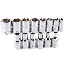 "13 Pieces Combination Drive Socket Set 4-14MM Metric 1/4"" CRV Mirror Finished for Auto Car Repair Tools"