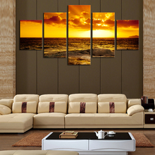 Direct Selling 5 Pieces/set Setting Sun Ocean Modern Home Wall Decor Canvas Picture Art Hd Print Unframed Spray Painting