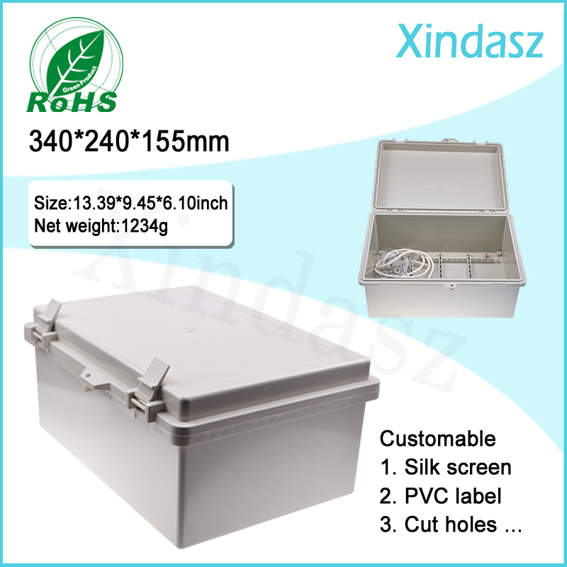 (XD-F53)340*240*155mm hinged plastic enclosures industrial plastic enclosures ip67 plastic enclosures<br>