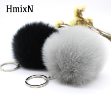 Quality Big leather pom pom Keychain 8CM faux Fur Pom Pom KeyChain Rabbit Hair Bulb Bag Fur Ball Pendant cute for women key ring