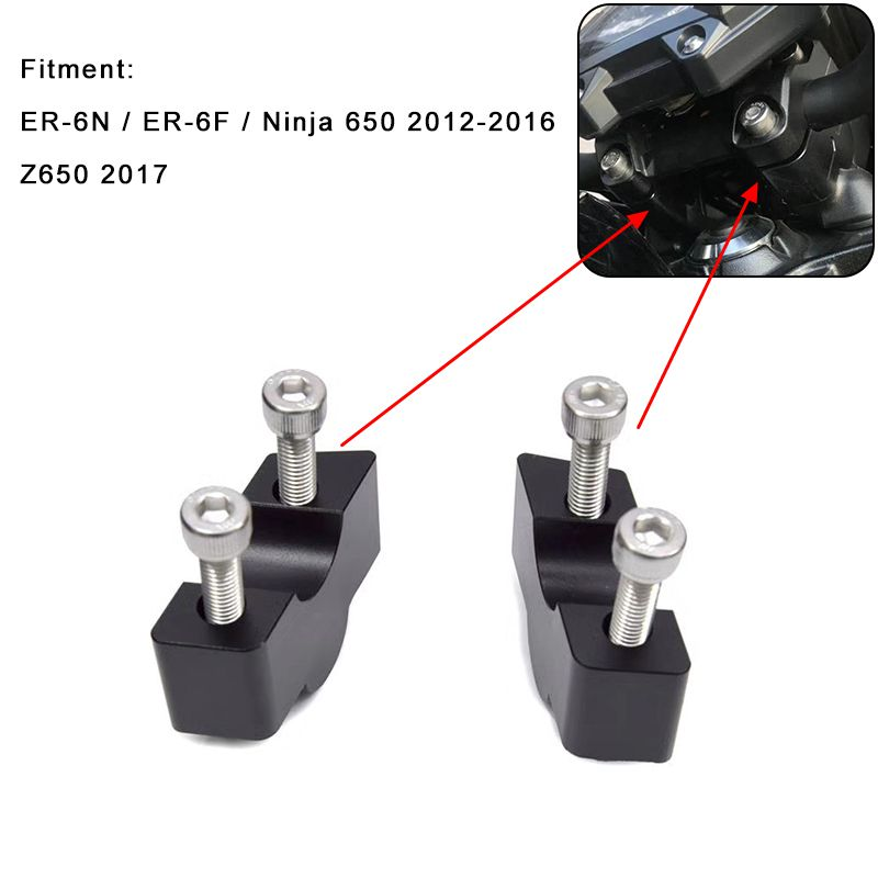 30MM for Kawasaki ER-6N ER6N ER 6N ER-6F Ninja 650 2012-2016 / Z650 2017 Motorcycle Modified Handlebar Risers Height up Adapters<br>