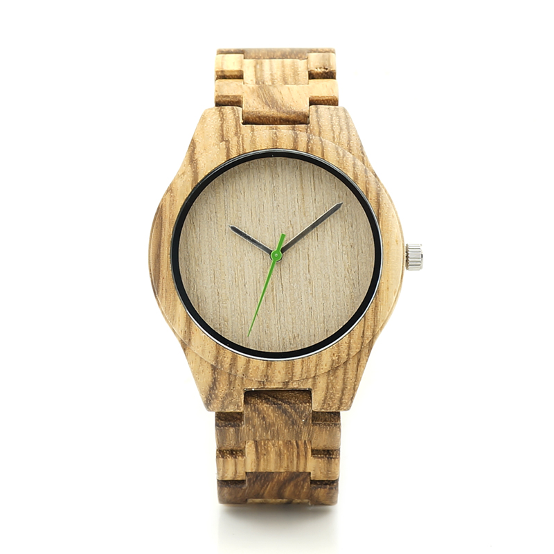 BOBO BIRD K26 Zebra Wood Mens Watch Basic Green Second Hand Wood Dial Quartz Wristwatch Wood/Leather Strap Available in Gift Box<br><br>Aliexpress