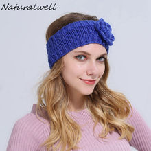 Naturalwell Ear warmer Crochet headband headwrap Winter headbands Womens head band Girls flower head wrap Christmas gift WH057