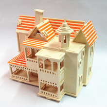 1pc/lot House Puzzle Toys 13 Styles Constructions 3D Wooden Toys Windmill/Forest/Coffee/Store/Pink Education Kids Toys