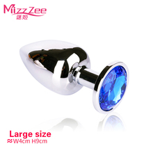 Buy MizzZee 1pcs Butt Plug Stainless Steel Metal Anal Plug Diamonds Plated Dildo Butt Plug Adult Sex Product Sex Toys Women