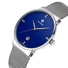 2017 Famous Brand WWOOR Watches Men Stainless Steel Mesh Band Fashion Analog Quartz Watch Ultra Thin Blue Dial Clock Male 8018(China)