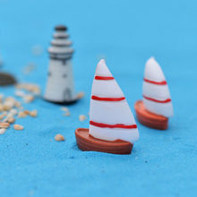 DIY accessories Beach landscape micro garden Decoration ornaments resin crafts mini Sailboat boats model Figures Toys terrariums(China)