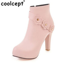 Coolcept Size 30-43 Warm Ankle Boots Women Round Toe Shoes Fashion Flower High Heels Shoes Short Boots Woman Square Heel Shoes(China)