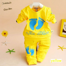 Retail 2017 Infant Clothes Baby Clothing Sets Boys Cotton Little foots Long Sleeve 2pcs Fashion Baby Boy girls Clothes(China)