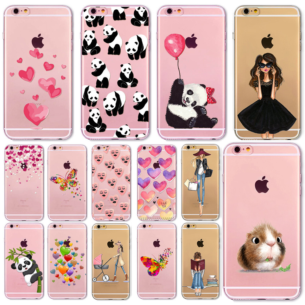 Soft Phone Cover Case For iPhone 7 6 6S 5 5S SE 7Plus 6SPlus 4S Amazing Present Panda Fashion Girl Hamster Heart Fundas(China (Mainland))