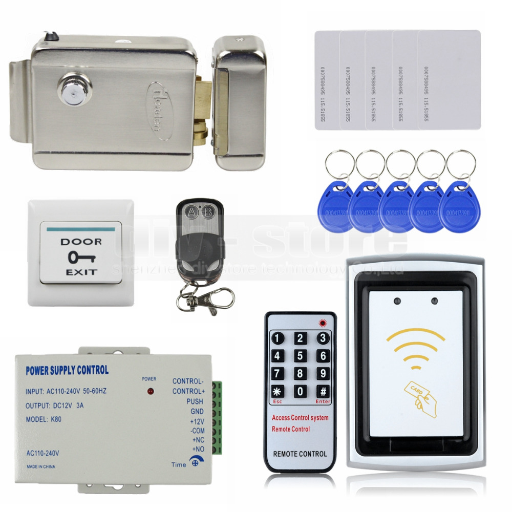 DIYSECUR 125KHz RFID Reader No Keypad Controller + Electric Lock Door Access Control Security System Full Kit Set<br><br>Aliexpress