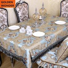 European Luxury High Quality Tablecloth Customized Table Cloth Embroidered Thick Home Decor Blue Color(China)
