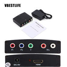 HDMI To RGB Component YPbPr video and R/L audio Adapter Converter for 1080P HD Clear TV + Plug Black Colors High Quality