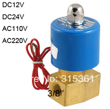 "Free Shipping KSD 3/8"" Electric Solenoid Valve 2/2 Way 12-Volt FKM/VITON Air, Water, Gas, Fuel DC24V,AC110V or AC220V as Option(China)"