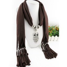 Woman's Owl Pendant Jewelry Scarf Necklace Scarf Fringed Long Scarf for spring winter