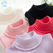 2017 Kids Cardigan Sweater For Girls Turtleneck Cotton Children Sweater Girl Winter Baby Turtleneck Girls Sweater Thick Clothing(China)