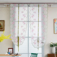 Modern Pink Voile Door Window Curtain Room Sheer Drape Panel Floral Scarf Sheer Valance new(China)