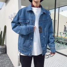 2018 New Men's Fashion Cowboy Jackets Loose Casual Bomber Streetwear Denim Jacket Clothes Black/Bule Color Jeans Coats M-2XL(China)