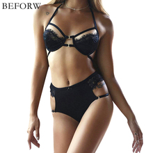 BEFORW 2017 New Bra Set Intimates Bralette Eyelash Lace Underwear Women Bra Set Transparent Sexy Lingerie Hollow Women Sexy Bra(China)