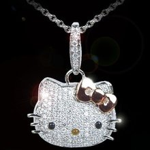 Hot Sale Women Summer Jewelry Crystal Rhinestone With Bow Hello Kitty Pendant Necklaces For Women Hello Kitty Jewelry 1pc/lot