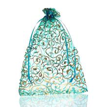 25PCs 17cmx23cm Skyblue Flower Organza Gift Jewelry Bags Wedding/Christmas Favor Fine Gifts Package Storage Organizer