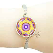 Chakra charm bracelet orange mandala pattern bangle indian jewelry buddhism om flower yoga henna pendant wristband jewelry