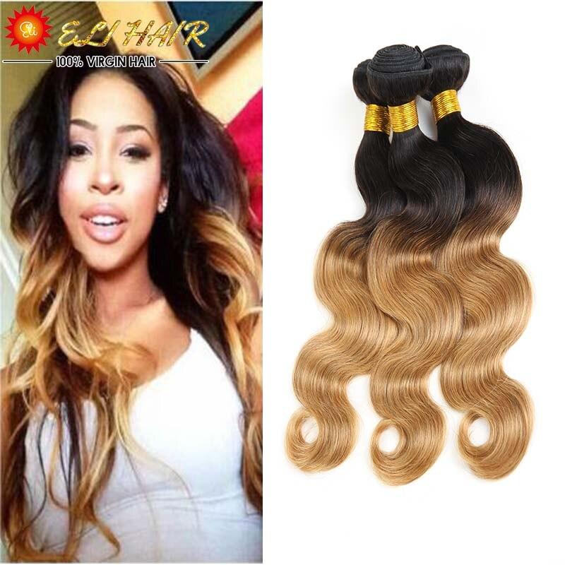 Ombre Brazilian Hair 3 Bundles Brazilian Body Wave 1B/27 Brazilian Virgin Hair Ombre Hair Extensions Blonde Remy Human Hair 26<br><br>Aliexpress