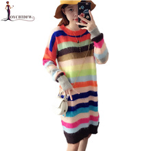 Autumn Winter 2017 New Women Rainbow stripes Sweater Mid long Fashion Pullover Loose Long-sleeved Female Knitted Sweater DD665(China)