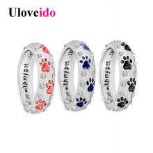 Uloveido Enamel Rings for Women Silver Color Dog Ring Female Paw Ring Bague when i am with my pet Dropshipping by E-packet JZ331