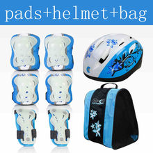 free shipping roller skates safety protector kit pads helmet bag 3-6 & 6-9 years old