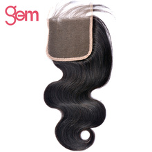 "GEM Beauty Hair Brazilian Body Wave 4""x4"" Free Part Lace Closure 100% Remy Hair Human Hair Natural Color 1B Can Be Dyed"