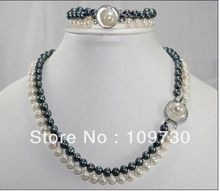 Hot sell Noble- Jewelry 00491 SET OF 2STRANDS 8-9MM AAA SOUTH SEA White black Pearl Necklace Bracelet (A0516)