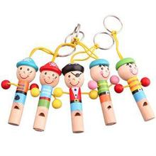 1Pcs Mini Wooden Pirate Whistle Musical Toys Gift Colorful Developmental Toy For Baby Kids Lovely Doll Keychain Instrument Toy