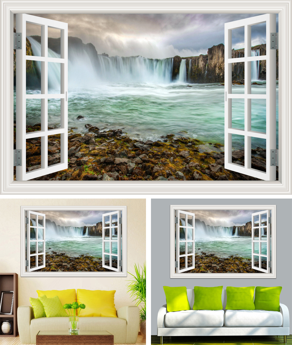 HTB1r7ggcLjM8KJjSZFNq6zQjFXa4 - Waterfall 3D Window View Wallpaper Nature Landscape Wall Decals for Living Room