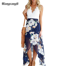 Wangcangli summer dress 2017 new off shoulder drees lace stitching long dress sarafans V neck sexy sundries holiday beach dress