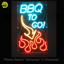 Neon Sign For Custom Neon Window Signs BBQ to GO Flame Pub Restaurant neon Windows lights for sale custom Brand LOGO Handmade(China)