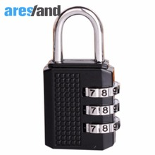 Aresland 3 Digit Coded Suitcase Lock Combination Zinc Alloy Padlocks Travel Coded Lock for Suitcases Travel Accessories - Black(China)
