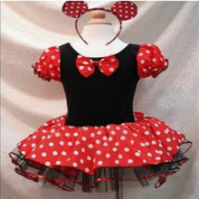 Free shipping Good quality  cosplay  girls dresses  Christmas party  Minnie cartoon costume role playing dress 2-12 age