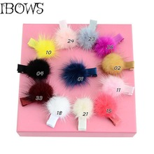 Sweet Kids Mink Hair Ball Hairpin Hair Rope Headwear Lovely Colorful Hairgrips Hair Accessories Cute Girl Hairclip 6Pcs/lot