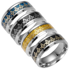 Fashion 8MM Stainless Steel Freemason Mason Ring Titanium Band Ring Jewelry Gifts For Men CX17