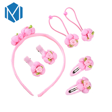 M MISM 7pcs/Set Rose Flower Barrettes Elastic Ornaments Hair Accessores Clip Hair Band Rubber Bands Girl Children Headdress Set(China)