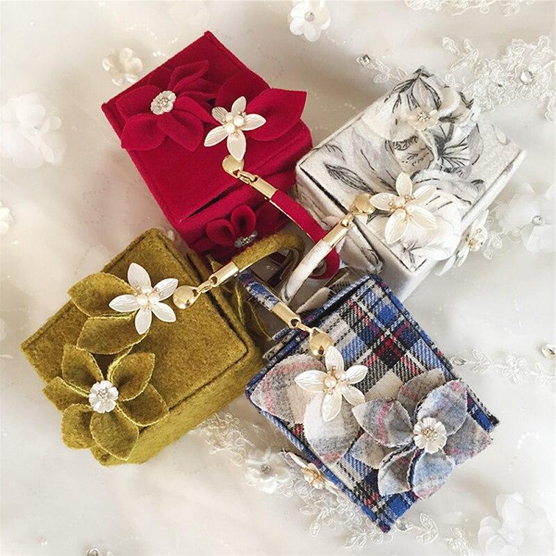 New vintage luxury fashion pearl flower party bucket bag lady handbag chain shoulder bag clutch mini messenger bag gift 4 colors<br>