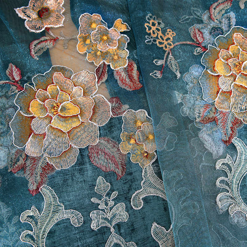 Water Soluble Hollow Flower Embroidery Curtain High-grade Chenille Fabric Curtains Custom for Living Room Bedroom xy-25