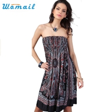 Womail Newly Design Fashion Women Bohemia Style Sexy Off-Shoulder Loose Beach Dress 160607 Drop Shipping