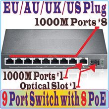 Free&Shipping 9 port 8 poe switch IEEE802.3af at PoE suit for all kind of poe camera / AP, Network Switches Plug&Play 1*SFP port