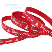 (5 yards/lot) 3/8'' (10mm) Red printed grosgrain ribbon Merry Christmas satin ribbons wholesale