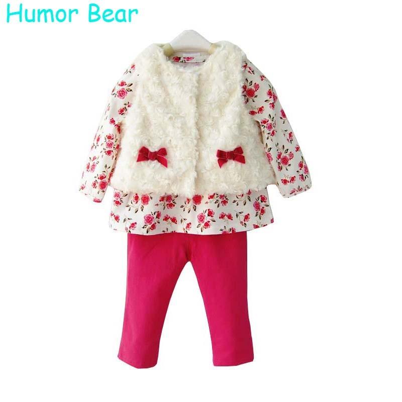 Humor Bear Baby Girls Clothing 3Pcs Set For Winter Long Sleeve Shirt+Leopard Pants+Fleece Vest Children Brand Clothing Suit<br><br>Aliexpress