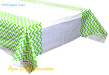 "108*180cm (70"" * 43"") Apple Green Chevron Rectangle Plastic Tablecloths Table Cover Christmas Kids Party Decorations"